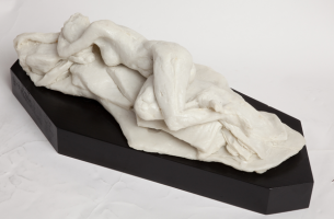 Abby, Poured Marble Statue by Karen Cauvin Eustis