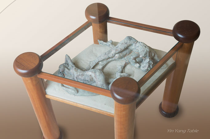 Ying-Yang, Fired Clay, Wood, and Glass Table by karen Cauvin Eustis