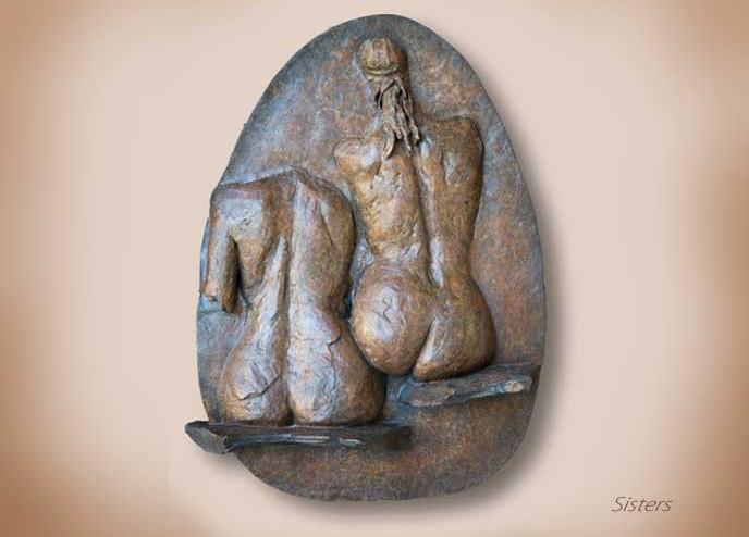 Sisters, Bronze Wall Sculpture by Karen Cauvin Eustis